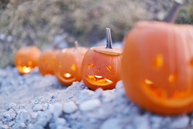 Halloween pumpkin lanterns with candles