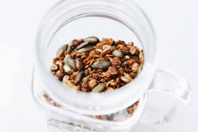 Homemade granola in a jar. Healthy food.