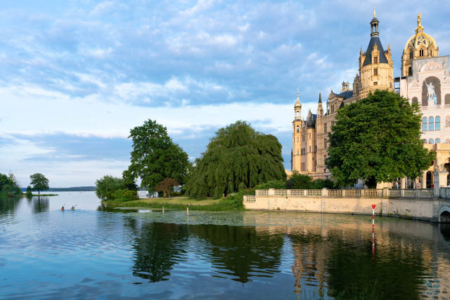 View of Schwerin castle surroundings with lake in the front of it