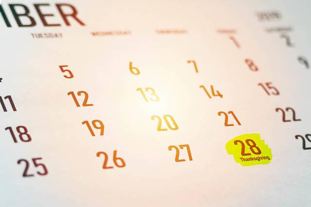 Thursday, November 28 - Thanksgiving Day marked on Calendar 2019