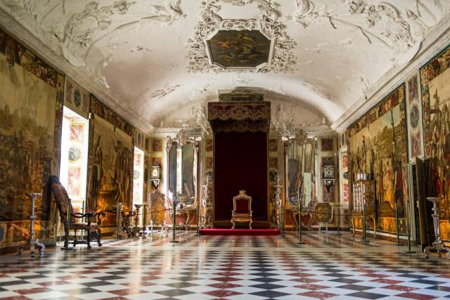 Throne in a royal ball room in Denmark