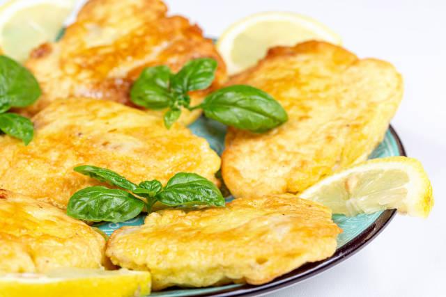 Fried tilapia fillet in batter, close-up