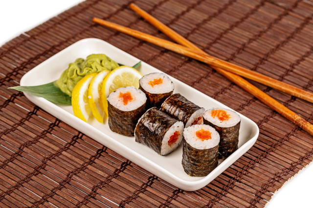 Japanese food-fresh Maki rolls with salmon