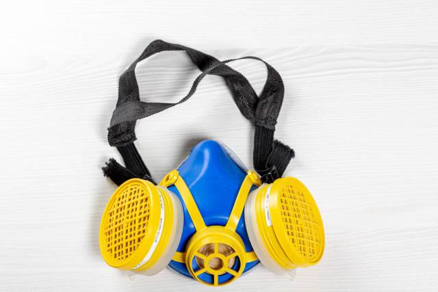 Toxic dust respirator half mask on white background