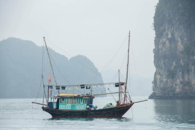 wooden Fish Boat at Sea Close up
