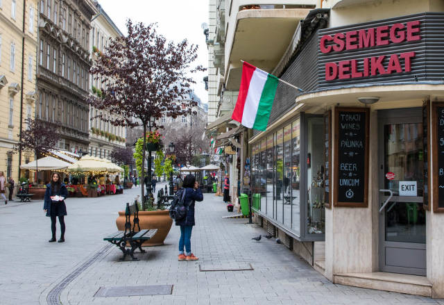 Old street with shops in Budapest