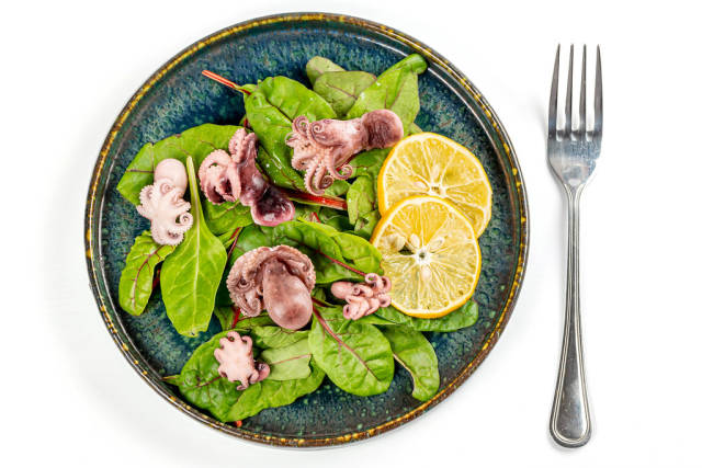 Salad with pickled octopus and green beet leaves on white, top view