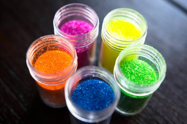 Open glitter bottles