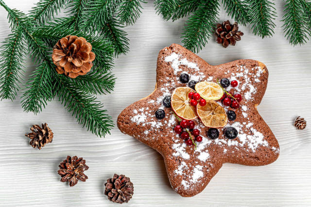 Star sponge cake with red currants, blueberries and dried citrus pieces with Christmas tree branches