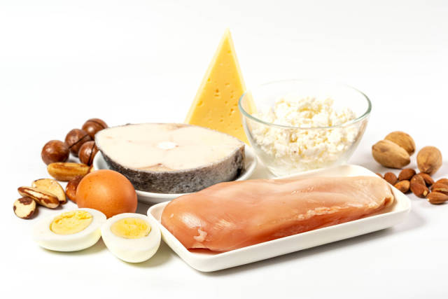 Healthy food products - fish, chicken, eggs, dairy products and nuts