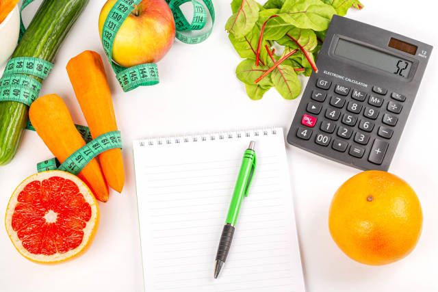 The concept of drawing up a diet menu and counting calories
