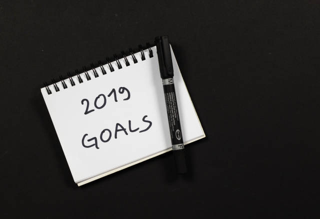 Top view of notepad with 2019 goals