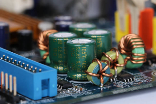 Closeup on electronic board and electronic device