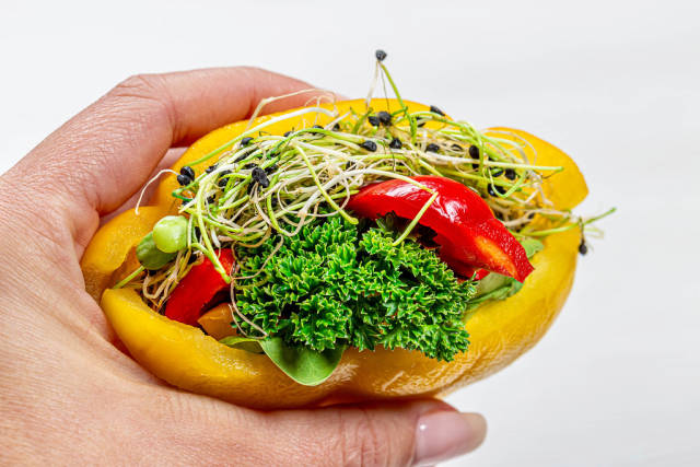 Diet vegetarian sandwich with fresh vegetables and micro greens in a womans hand