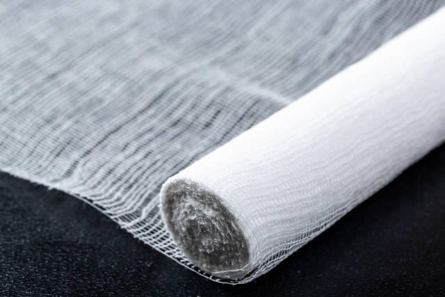 White bandage on black background