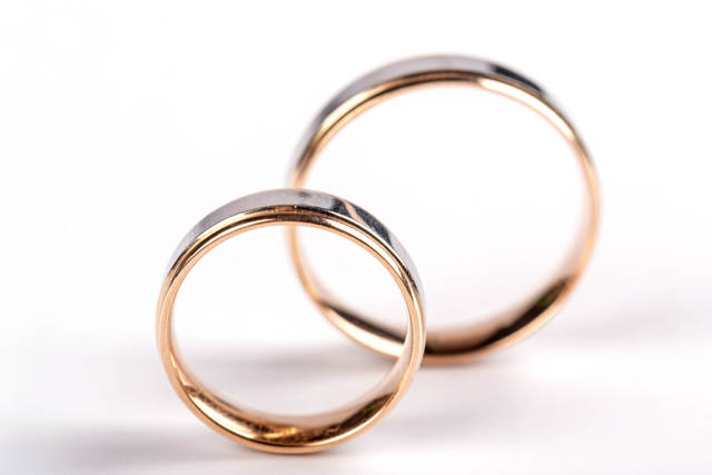 Pair of wedding gold rings, close-up
