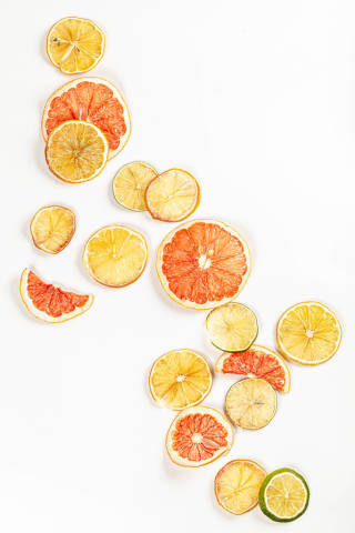 Food background with dried citrus slices