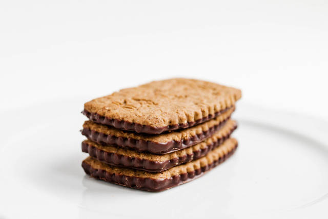 Close up of biscuits with chocolate and oat flakes