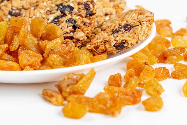 Oatmeal snacks with raisins, close-up