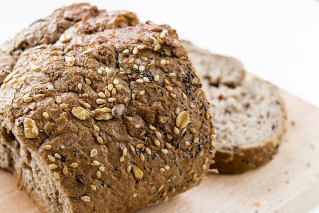 Healthy bread with seeds , close up