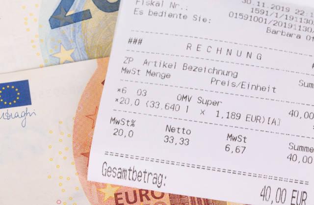 Money and receipt closeup