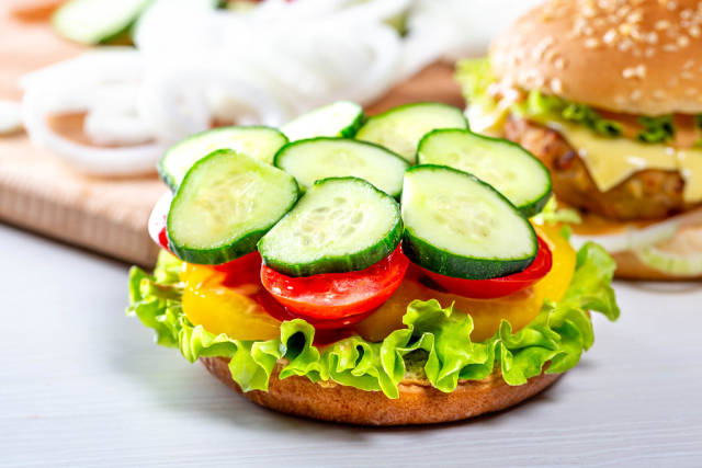 The process of cooking vegan Burger. Vegetable food concept