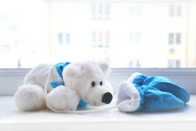 Toy  polar bear near the window