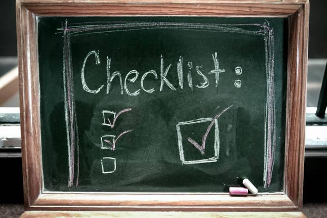 Checklist on a chalkboard
