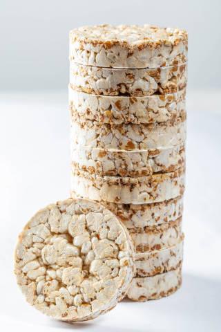 Crunchy crispbread on a white background