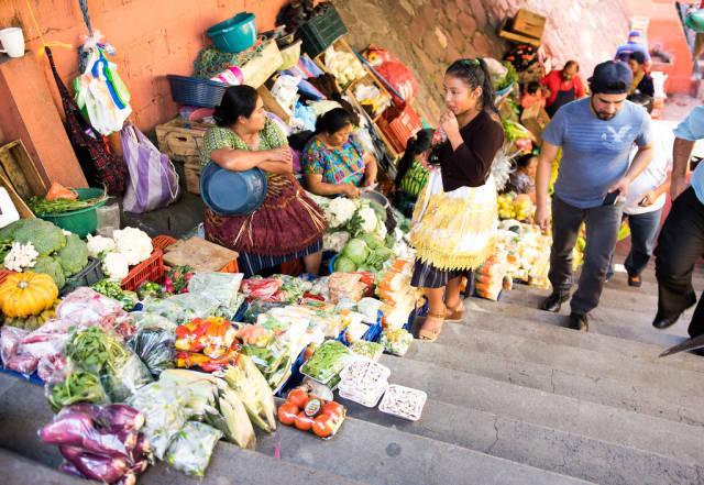 Food market entrance in Guatemala