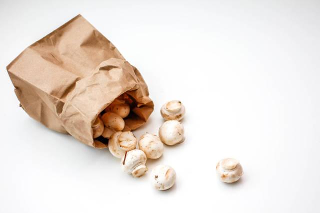 White Mushroom in a Brown Bag