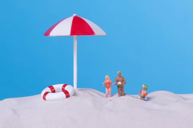Family on the sandy beach