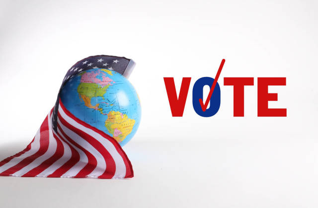 American flag with globe and Vote text