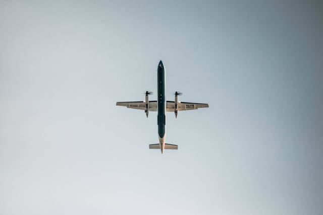 Underneath a plane in the sky