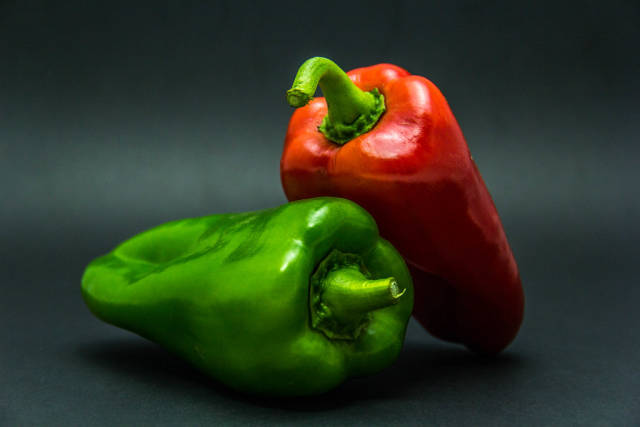 A Red and a Green Pepper
