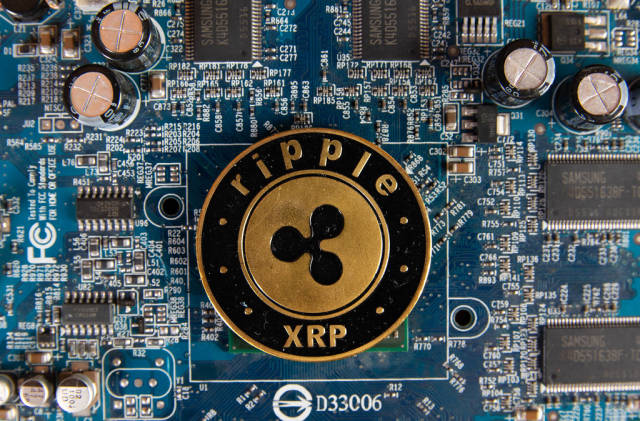Ripple coin on a computer mother board