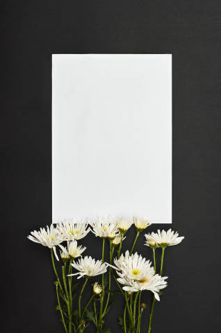 Beautiful flowers and blank paper with copy space