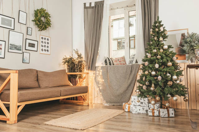 Spacious and light living room decorated for christmas