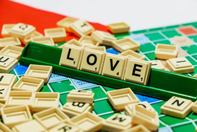"Love"" word on scrabble"
