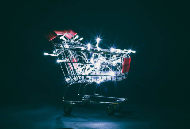 Christmas lights in shopping cart
