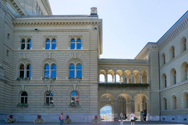 The Parliament Building (Bundeshaus) of Switzerland with arcade passage