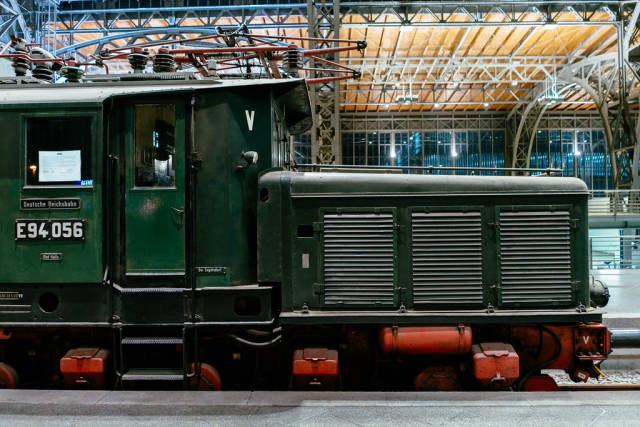 Antique German Reichsbahn green cargo locomotive side view