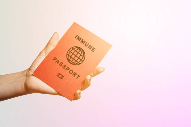 Showing immune passport in the airport