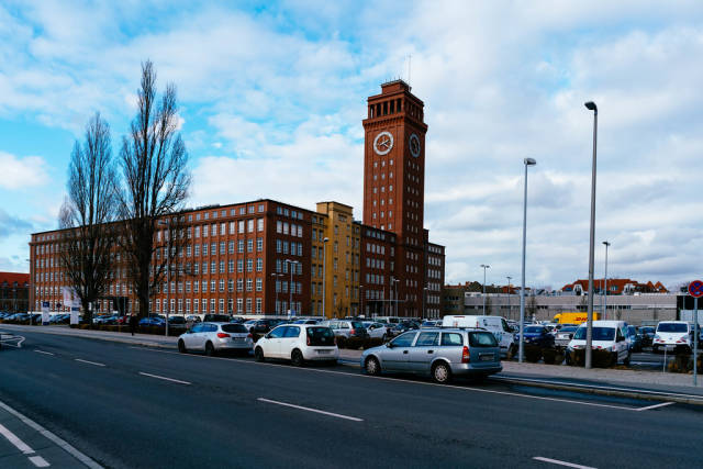 Authentic old building in Berlin with clock tower
