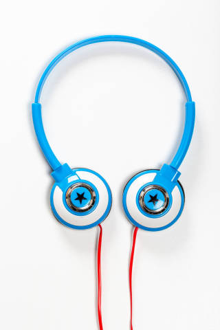 Top view childrens blue headphones on white background