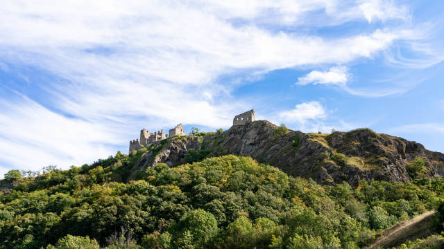 Remainings of Château de Tourbillon castle at the top of the hill in Swiss city Sion