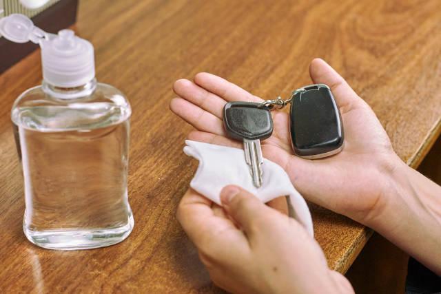 Disinfecting car keys