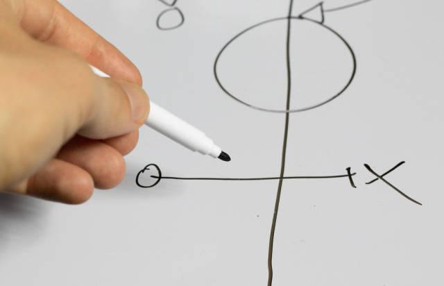 Trainer erklärt die Fußball-Taktik anhand einer Zeichnung