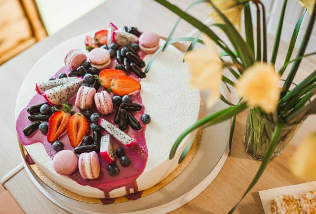Yogurth Cake Filled With Berries, Jelly Beans, Papaya, Macaroons