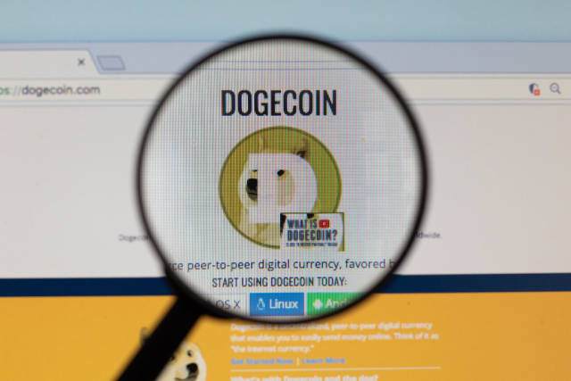 Dogecoin logo on a computer screen with a magnifying glass